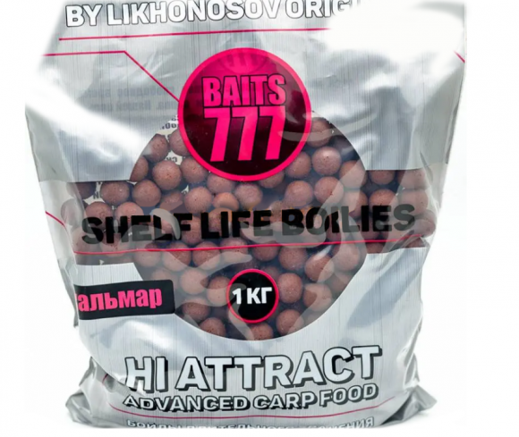 Тонущие бойлы 20 мм Кальмар-Клюква 777 Baits (Лихоносовы) - Likhonosov Original Shelf Life Boilies Squid-Cranberry, 1 кг